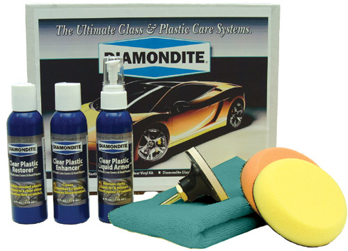 The Diamondite Clear Plastic Kit is a three step system to restore, clean, and protect your vehicle's headlights. The system works with an electric drill or polisher using the included 4 inch pads. Remove cloudiness and oxidation caused by UV exposure, as well as light scratches and imperfections with the Diamondite Clear Plastic Kit.