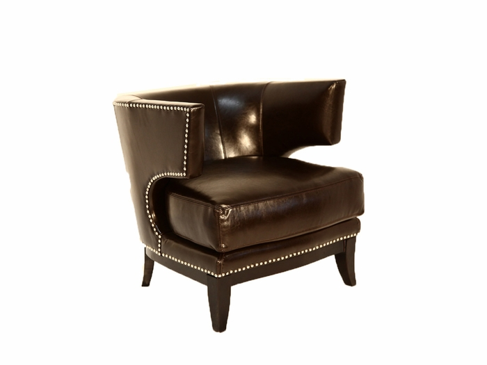 Studded leather barrel back chair for Leather studded couch